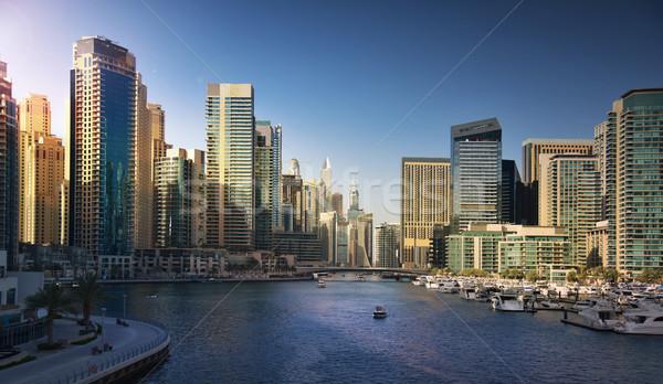 Stockfoto: Dubai · jachthaven · zonsondergang · zee · frame · reizen