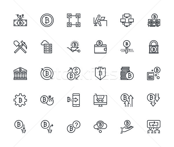 Thin line cryptocurrency icons Stock photo © PureSolution