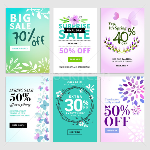 Set of social media sale banners, and ads web templates Stock photo © PureSolution