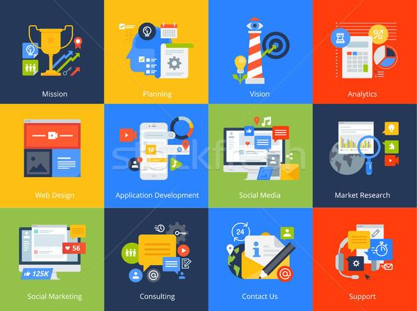 Ontwerp iconen vector illustraties business beheer Stockfoto © PureSolution