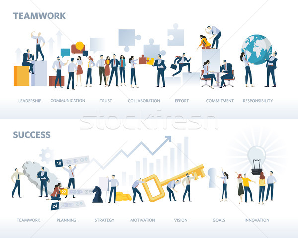Set of flat design web banners of teamwork and success, isolated on white Stock photo © PureSolution
