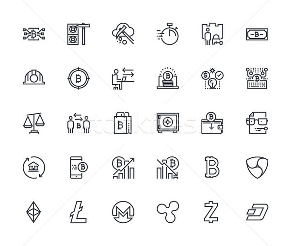 Set of thin line blockchain technology icons Stock photo © PureSolution