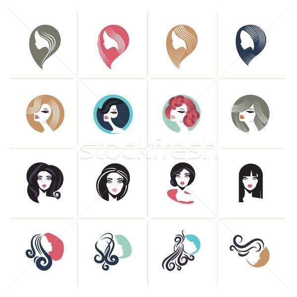Conjunto projeto mulher avatar ícones sinais Foto stock © PureSolution