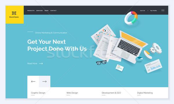 Stockfoto: Website · sjabloon · ontwerp · moderne · web · pagina