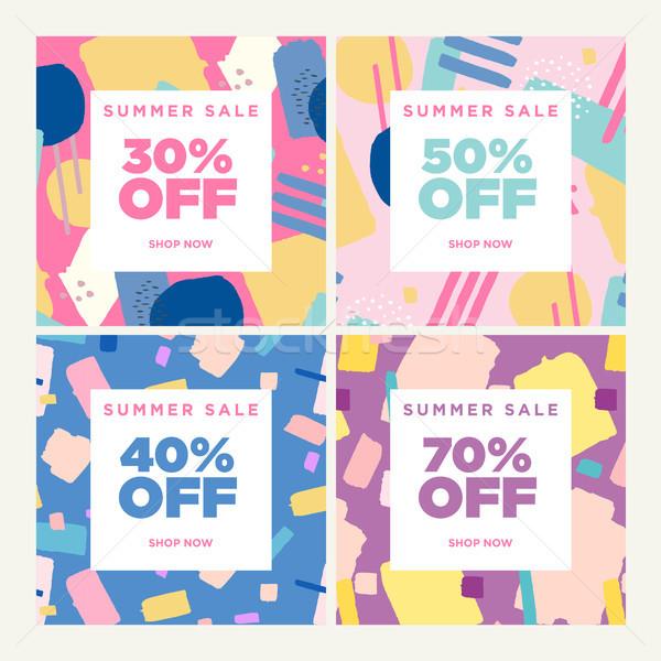 Verão venda conjunto banners vetor Foto stock © PureSolution