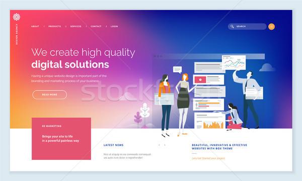 Effectief website sjabloon ontwerp moderne web Stockfoto © PureSolution