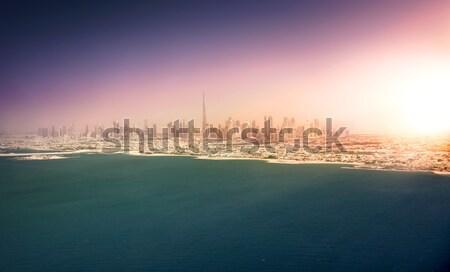 Panorámakép kilátás Dubai sziluett tájkép tenger Stock fotó © PureSolution