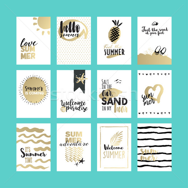 Set of hand drawn summer cards and banners Stock photo © PureSolution