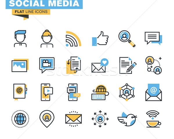 Modieus lijn icon pack ontwikkelaars iconen Stockfoto © PureSolution