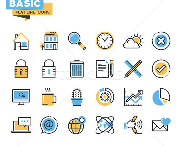 Modieus lijn icon pack ontwikkelaars fundamenteel Stockfoto © PureSolution