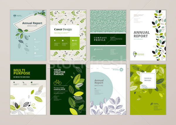 Set of natural product brochure, annual report, flyer design templates in A4 size Stock photo © PureSolution