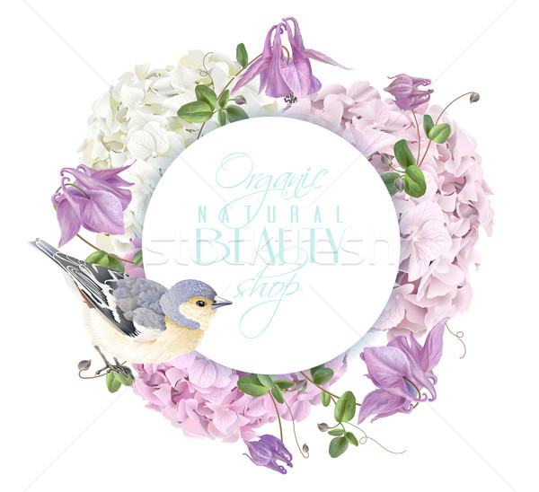 Hydrangea bird round logo Stock photo © PurpleBird