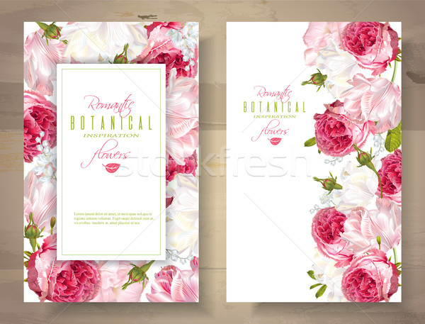 Stock photo: Romantic flowers vertical banners