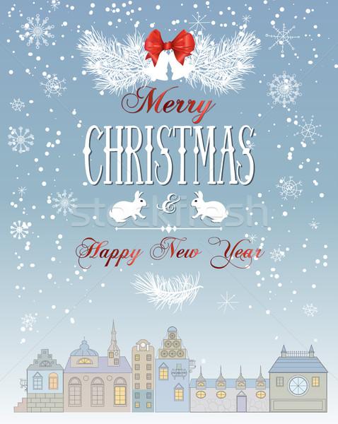 Christmas town card. Stock photo © PurpleBird