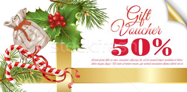 Christmas geschenk bon vector traditioneel decoratie Stockfoto © PurpleBird