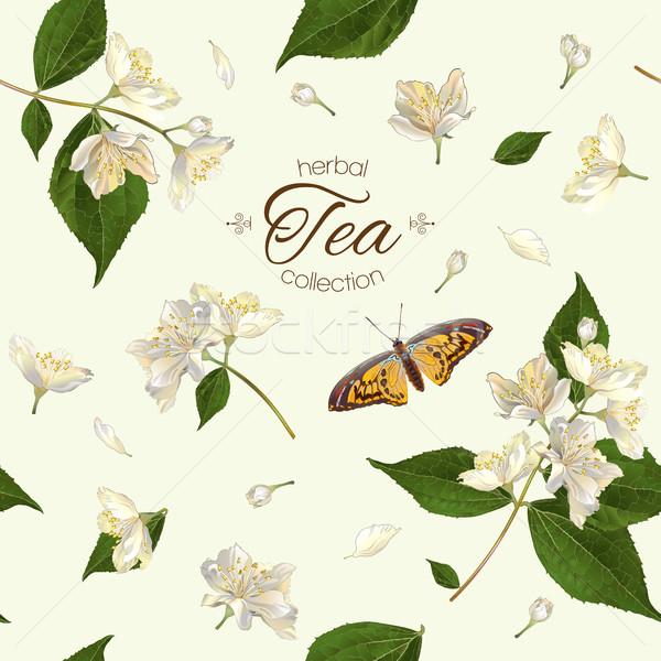 Jasmine tea seamless pattern Stock photo © PurpleBird