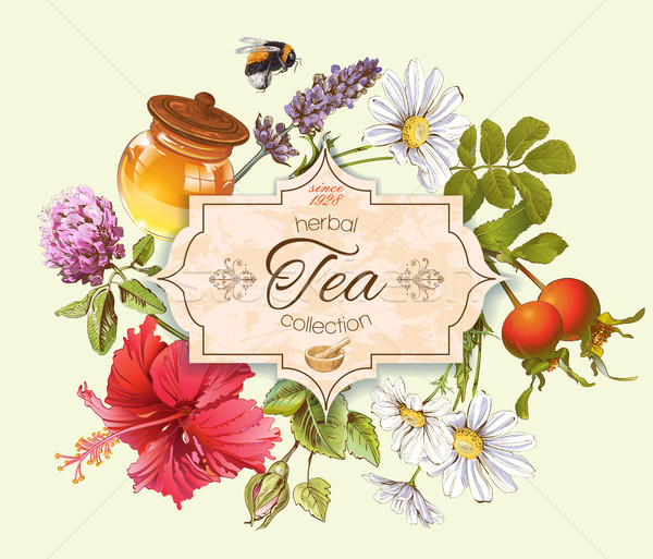 Chá medicinal bandeira vintage mel rosa quadril Foto stock © PurpleBird