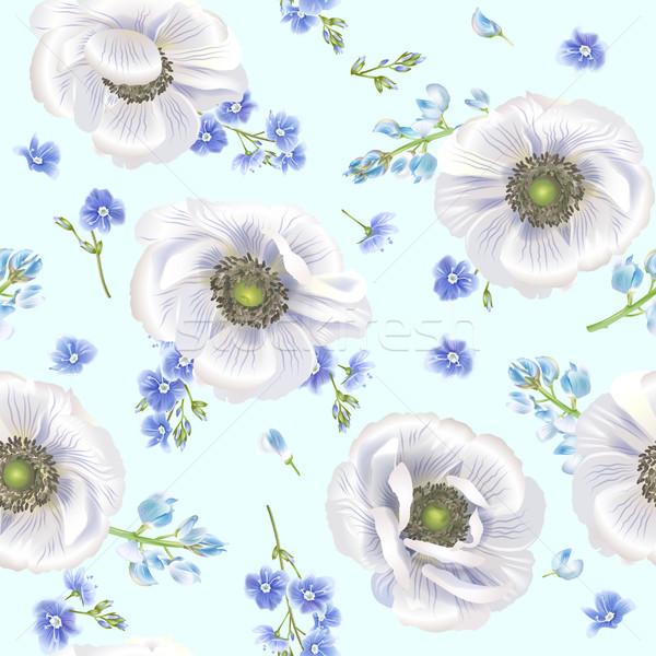 Blue anemone pattern Stock photo © PurpleBird