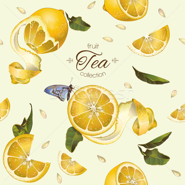 Stock photo: Lemon tea seamless pattern