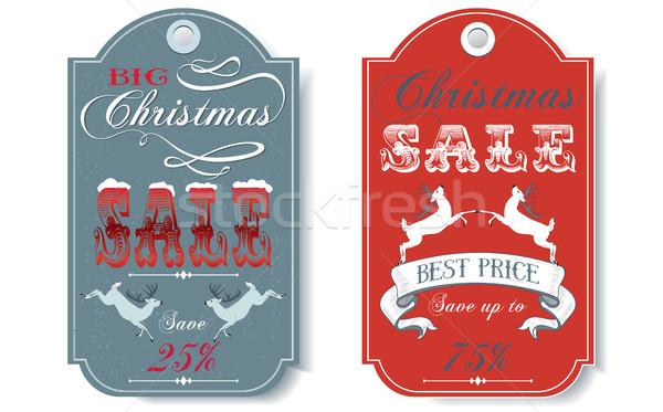 Stockfoto: Christmas · verkoop · vector · vintage · ingesteld