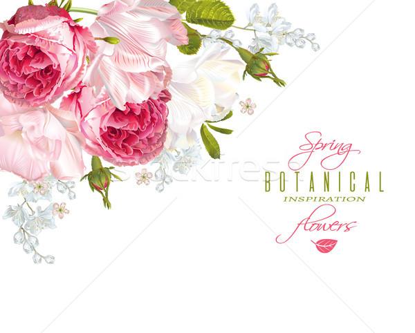 Romantic flowers corner banner Stock photo © PurpleBird