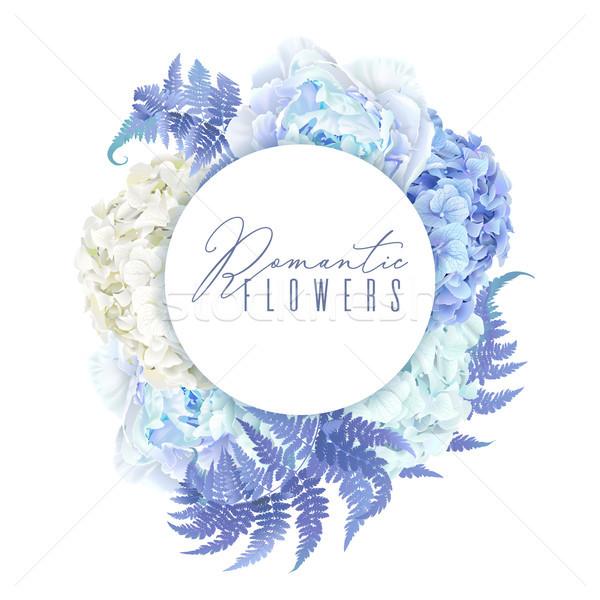 Floral blue round banner Stock photo © PurpleBird