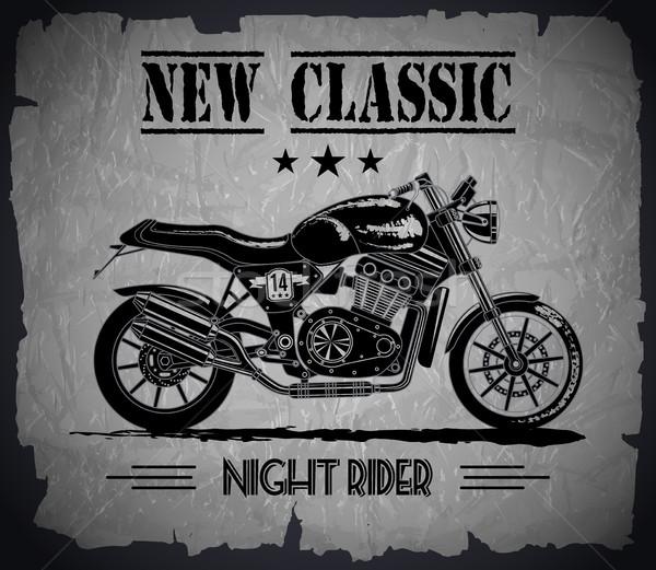 новых классический черный баннер вектора мотоцикл Сток-фото © PurpleBird
