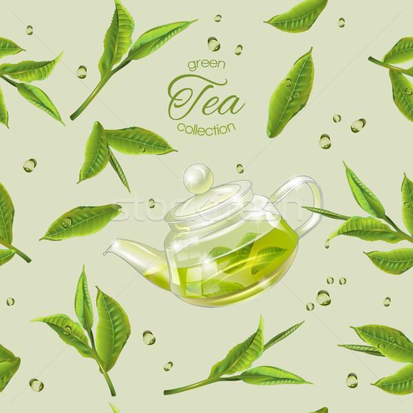 Zöld tea minta vektor végtelen minta átlátszó teáskanna Stock fotó © PurpleBird