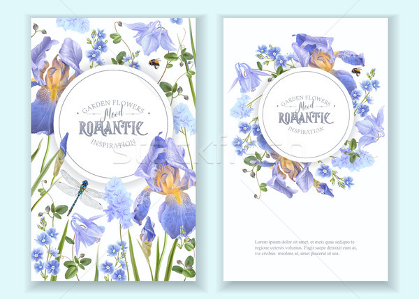 Stock photo: Blue flower round banners