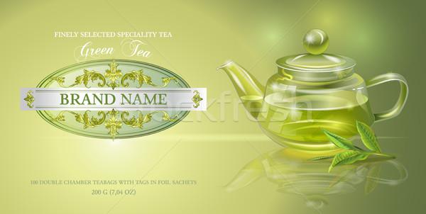 зеленый чай баннер вектора прозрачный чайник чай Сток-фото © PurpleBird