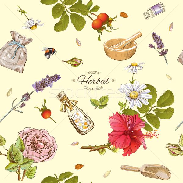 Herbal cosmetics pattern Stock photo © PurpleBird