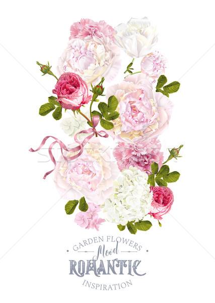 Сток-фото: романтические · саду · вектора · Vintage · цветочный · закрывается