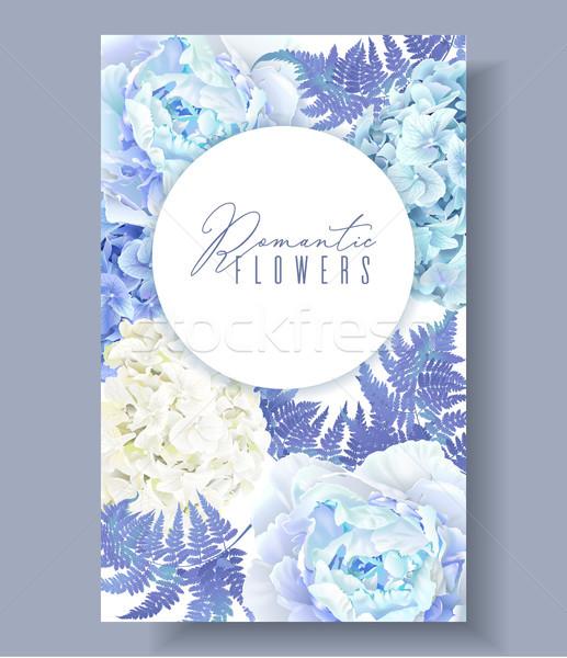 Floral blue vertical banner Stock photo © PurpleBird