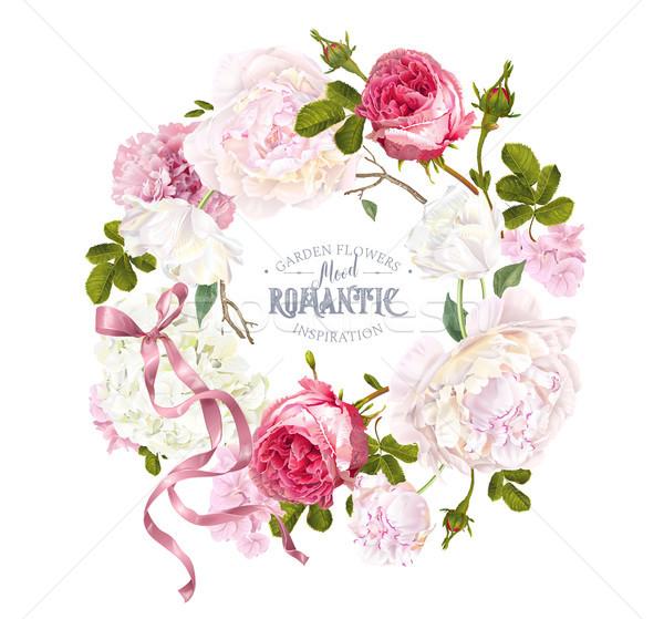 Romantic garden wreath Stock photo © PurpleBird