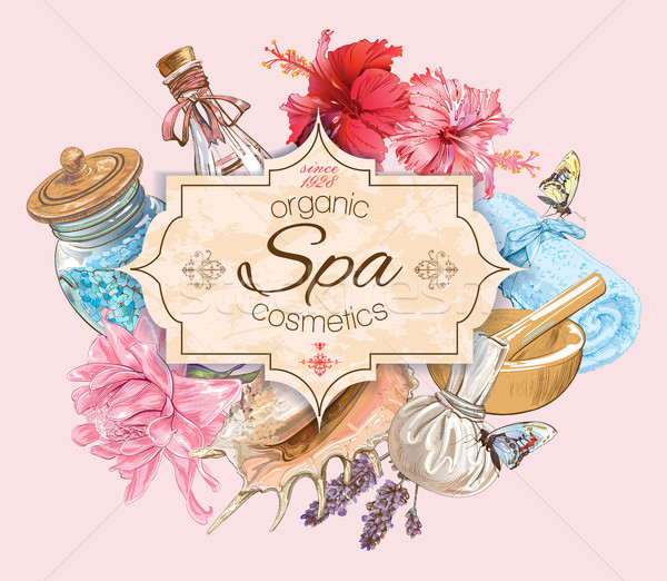 Stock photo: Tropic style spa banner