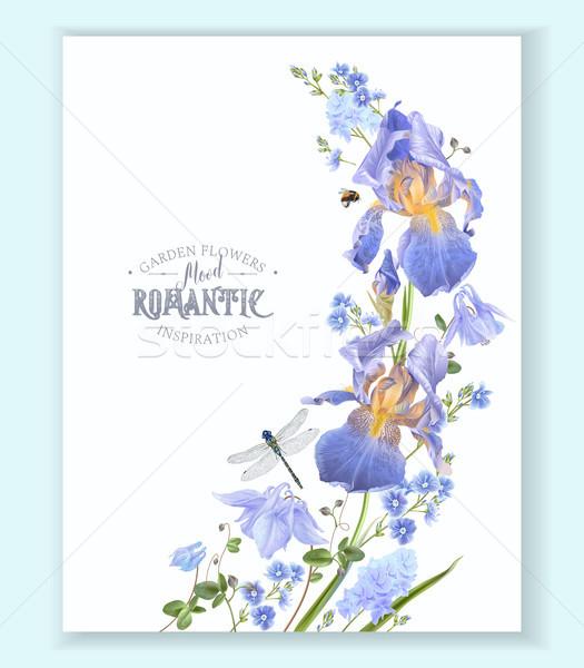 синий цветок волна границе вектора синий Сток-фото © PurpleBird