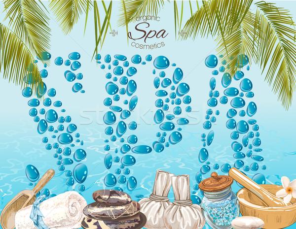 Spa druppels banner stijl spa-behandeling Stockfoto © PurpleBird
