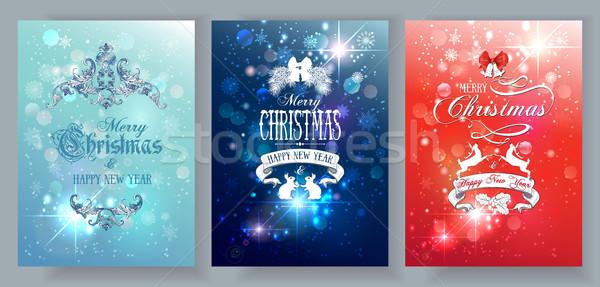 Christmas cards set Stock photo © PurpleBird