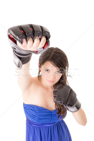 Young woman wearing boxing gloves in casual dress Stock photo © pxhidalgo