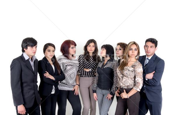 Groep ernstig latino zakenlieden business vrouwen Stockfoto © pxhidalgo