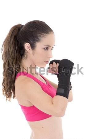 Feminino misto artes marciais lutador estilo luvas Foto stock © pxhidalgo