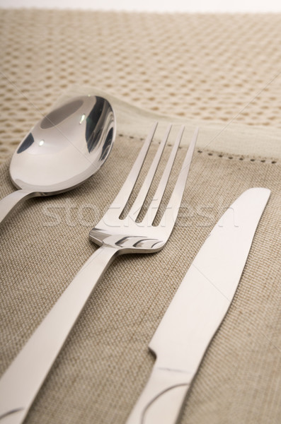 Knife, fork and spoon with linen serviette Stock photo © pxhidalgo