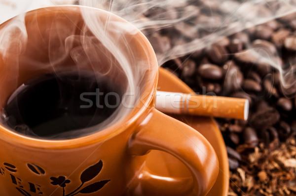 сигарету дым Кубок кофе здоровья мужчин Сток-фото © pxhidalgo