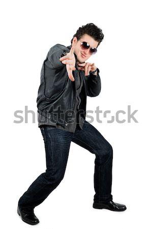 Genç adam siyah yalıtılmış Stok fotoğraf © pxhidalgo