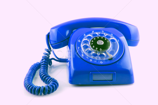old  BLue telephone with rotary dial Stock photo © pxhidalgo