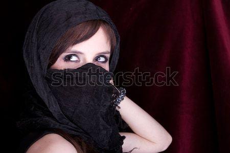 Güzel bir kadın geleneksel peçe kilise karanlık elbise Stok fotoğraf © pxhidalgo