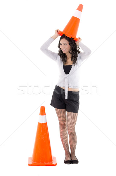 hispanic Woman with  safety cone Stock photo © pxhidalgo