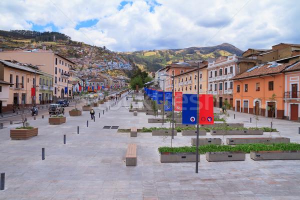 Street, old town of Quito, Ecuador, with city flag Stock photo © pxhidalgo