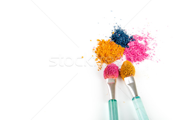 Stock photo: eye shadow crushed samples isolated on white