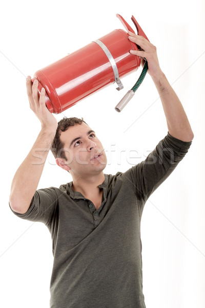 Business man holding fire extinguisher  with empty space for your text Stock photo © pxhidalgo
